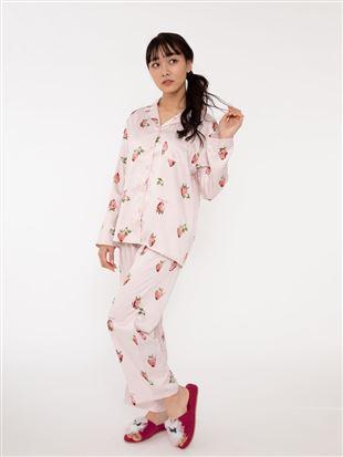 イチゴ柄サテンパジャマ|パジャマ