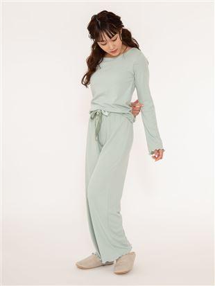 リブ長袖カップ付きパジャマ|パジャマ