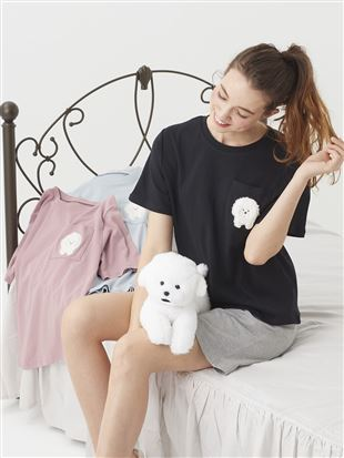 綿スムースビションフリーゼ刺繍Tシャツ|トップス