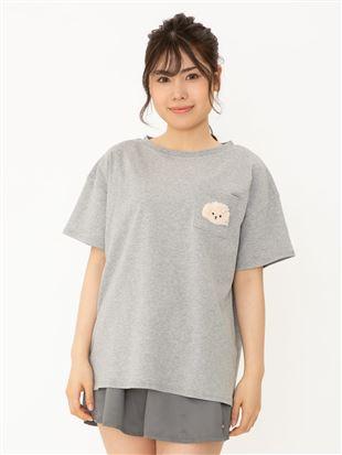 綿混トイプードル刺繍Tシャツ|トップス