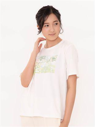 綿混花フォトプリントゆったりTシャツ|