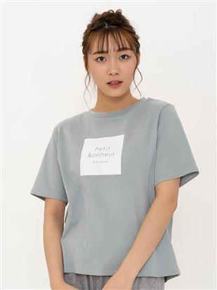綿スムースロゴボックスTシャツ|トップス