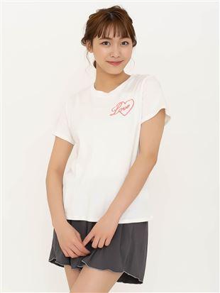 綿混ハートロゴプリントTシャツ|
