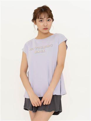 綿混ロゴプリントフレンチスリーブTシャツ|