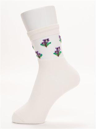 履き口ゆったり部分シースルーすみれ花柄ソックス15cm丈|クルーソックス