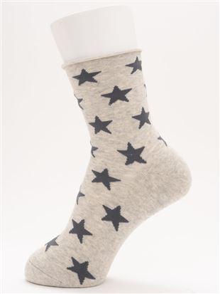 履き口ゆったり足底パイル星総柄ソックス16cm丈|クルーソックス