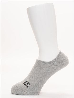 【メンズ】綿混底パイルめがね刺繍ローカットくるぶしソックス|メンズソックス