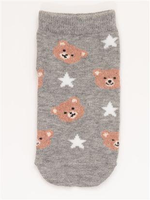[キッズ]綿混クマと星くるぶしソックス|