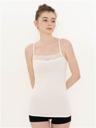 [tutu cotton+]胸元レースキャミソール(SS・LLサイズWEB限定)|