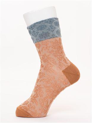 [レディライン]履き口切替光沢糸ラメフロート柄ソックス15cm丈|クルーソックス