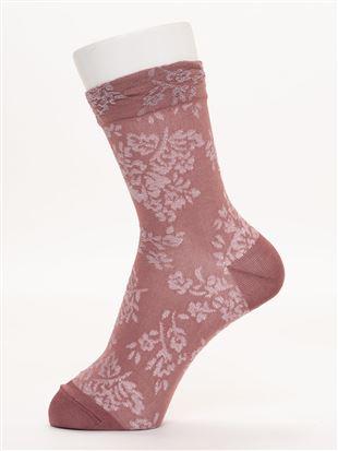 [レディライン]フロート濃淡花柄ソックス16cm丈|クルーソックス
