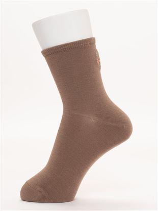 [ちょうどいい靴下]バック花刺繍温調ソックス14cm丈|クルーソックス