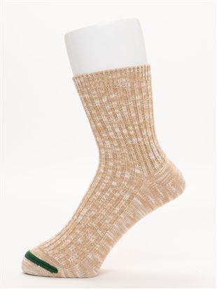 [メンズ]同系色カラースラブソックス17cm丈|クルーソックス