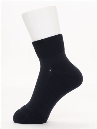 綿混足底パイル編み口ゴムソックス11.5cm丈|クルーソックス
