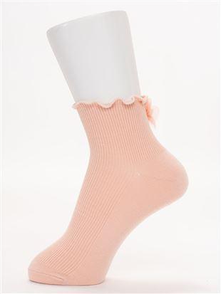 履き口メローパール付き花モチーフソックス10cm丈|クルーソックス
