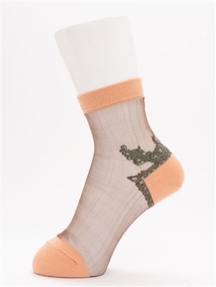 [レディライン]踵飾り柄シースルーソックス13cm丈|クルーソックス