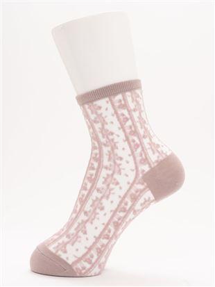 [レディライン]縦花柄カラーシースルーソックス17cm丈|クルーソックス