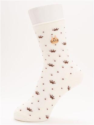 [ちょうどいい靴下]ねこ刺繍ドット柄温調ソックス14cm丈 クルーソックス