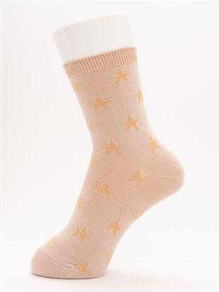 [ちょうどいい靴下]リンクス星柄ソックス15cm丈|クルーソックス