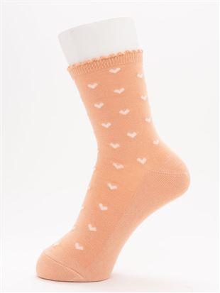 [ちょうどいい靴下]ハート柄温調ソックス16cm丈|クルーソックス