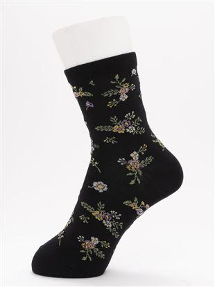 [ちょうどいい靴下]ハイゲージ花柄温調ソックス14cm丈|クルーソックス