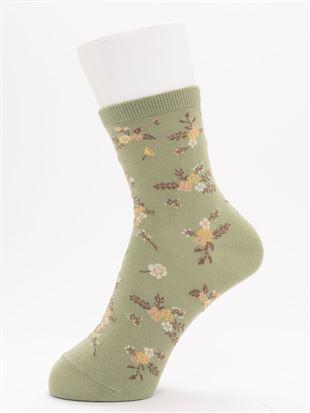 [ちょうどいい靴下]ハイゲージ花柄温調ソックス14cm丈|