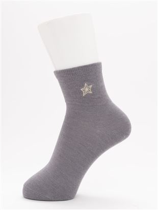 [ちょうどいい靴下]星刺繍温調ソックス14cm丈|クルーソックス
