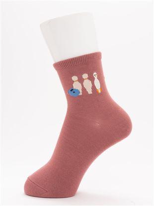 [ちょうどいい靴下]アヒルとボーリング刺繍温調ソックス13cm丈|クルーソックス