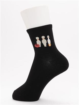 [ちょうどいい靴下]アヒルとボーリング刺繍温調ソックス13cm丈|