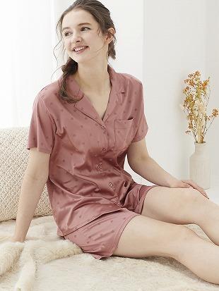 ハートジャガードサテンパジャマ(半袖×1分丈パンツ)|パジャマ