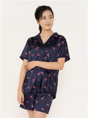 レトロ花柄サテンパジャマ(半袖×1分丈パンツ)|パジャマ