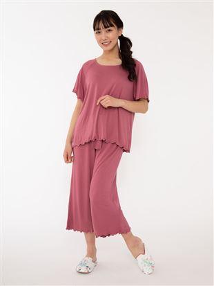 ベア天竺無地パジャマ(半袖×7分丈パンツ)|