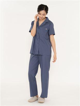 無地綿レーヨン布帛パジャマ(半袖×ロングパンツ)|