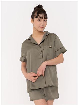ヴィンテージ風サテンパジャマ(半袖×1分丈パンツ)|パジャマ