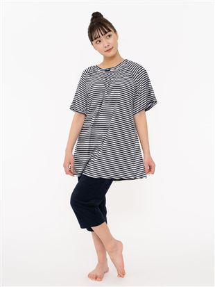 細ボーダーパイルパジャマ(半袖×7分丈パンツ)|パジャマ
