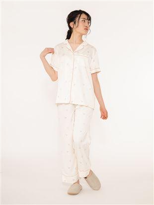チェリー柄サテンパジャマ(半袖×ロングパンツ)|パジャマ