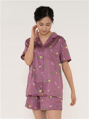 南国柄サテンパジャマ(半袖×1分丈パンツ)|パジャマ