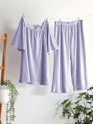 襟元スクエア無地パイルパジャマ(半袖×5分丈パンツ)|パジャマ