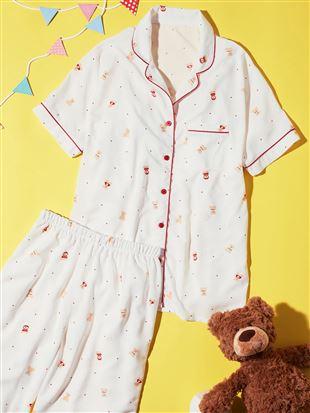 くま柄レーヨン布帛パジャマ(半袖×ロングパンツ)|パジャマ