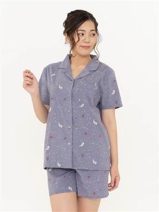 ラッコ柄布帛パジャマ(半袖×1分丈パンツ)|パジャマ