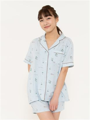 リゾート柄レーヨン布帛パジャマ(半袖×1分丈パンツ)|