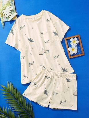 サメ柄天竺パジャマ(半袖×1分丈パンツ)|パジャマ