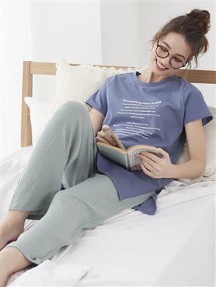 ロゴTシャツリブパンツパジャマ|