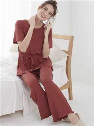裾メローリブパジャマ(半袖×ロングパンツ)|