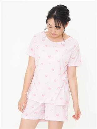 ピーチ柄パイルパジャマ(半袖×1分丈)|パジャマ