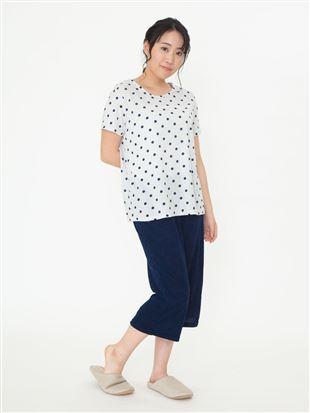 水玉柄パイルパジャマ(半袖×7分丈パンツ)|パジャマ