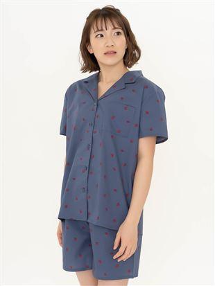 いちご柄布帛パジャマ(半袖×1分丈パンツ)|
