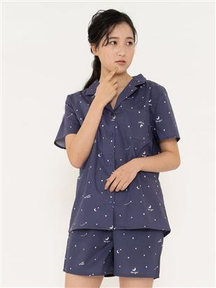 星柄布帛パジャマ(半袖×1分丈パンツ)|