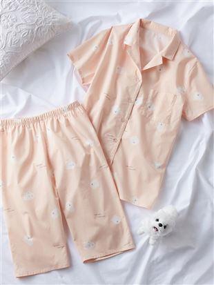 ポメラニアン柄布帛パジャマ(半袖×5分丈パンツ)|パジャマ