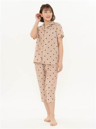 水玉布帛パジャマ(半袖×7分丈パンツ)|